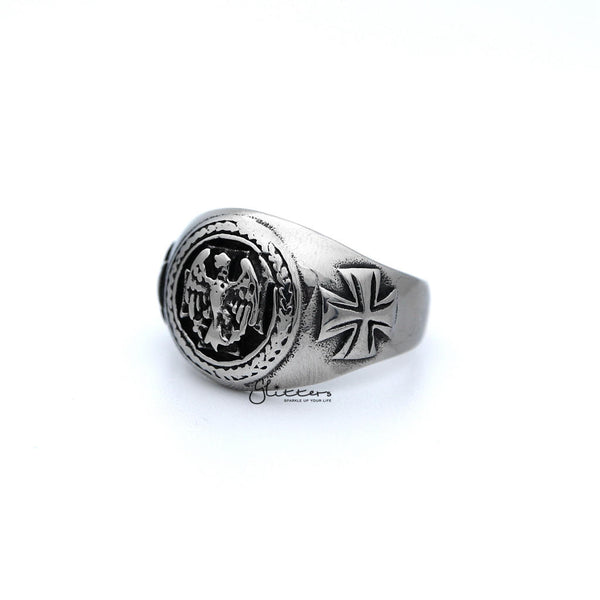 Men's Antiqued Stainless Steel Eagle Casting Rings