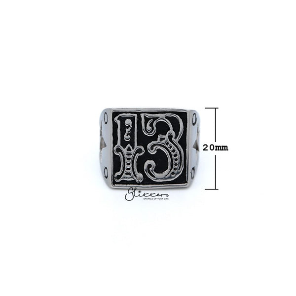 Stainless Steel Antiqued Number #13 Casting Men's Rings