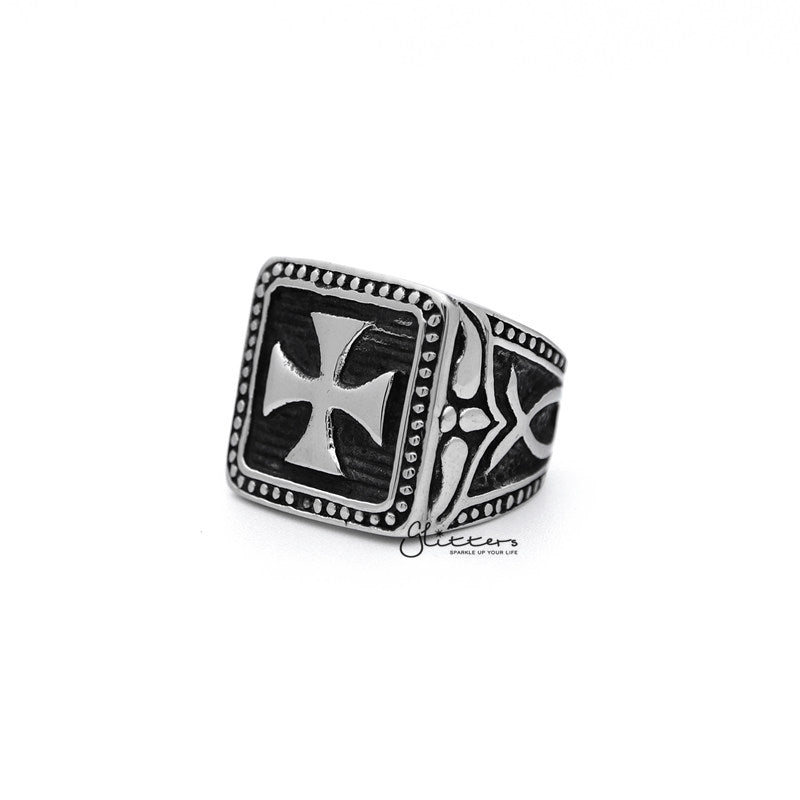 Stainless Steel Antiqued Square Cross Casting Men's Rings-Glitters-New Zealand