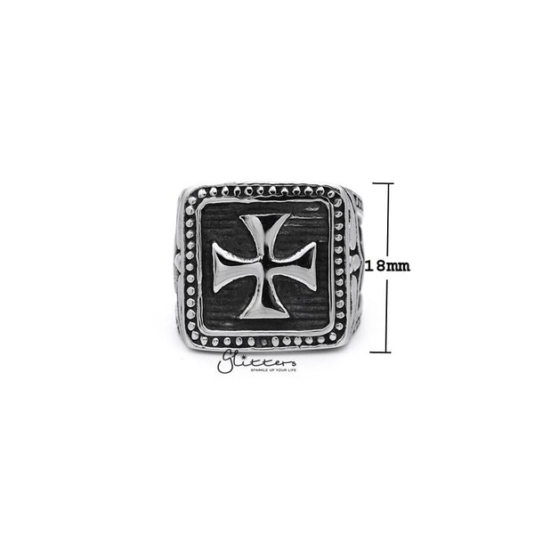 Stainless Steel Antiqued Square Cross Casting Men's Rings