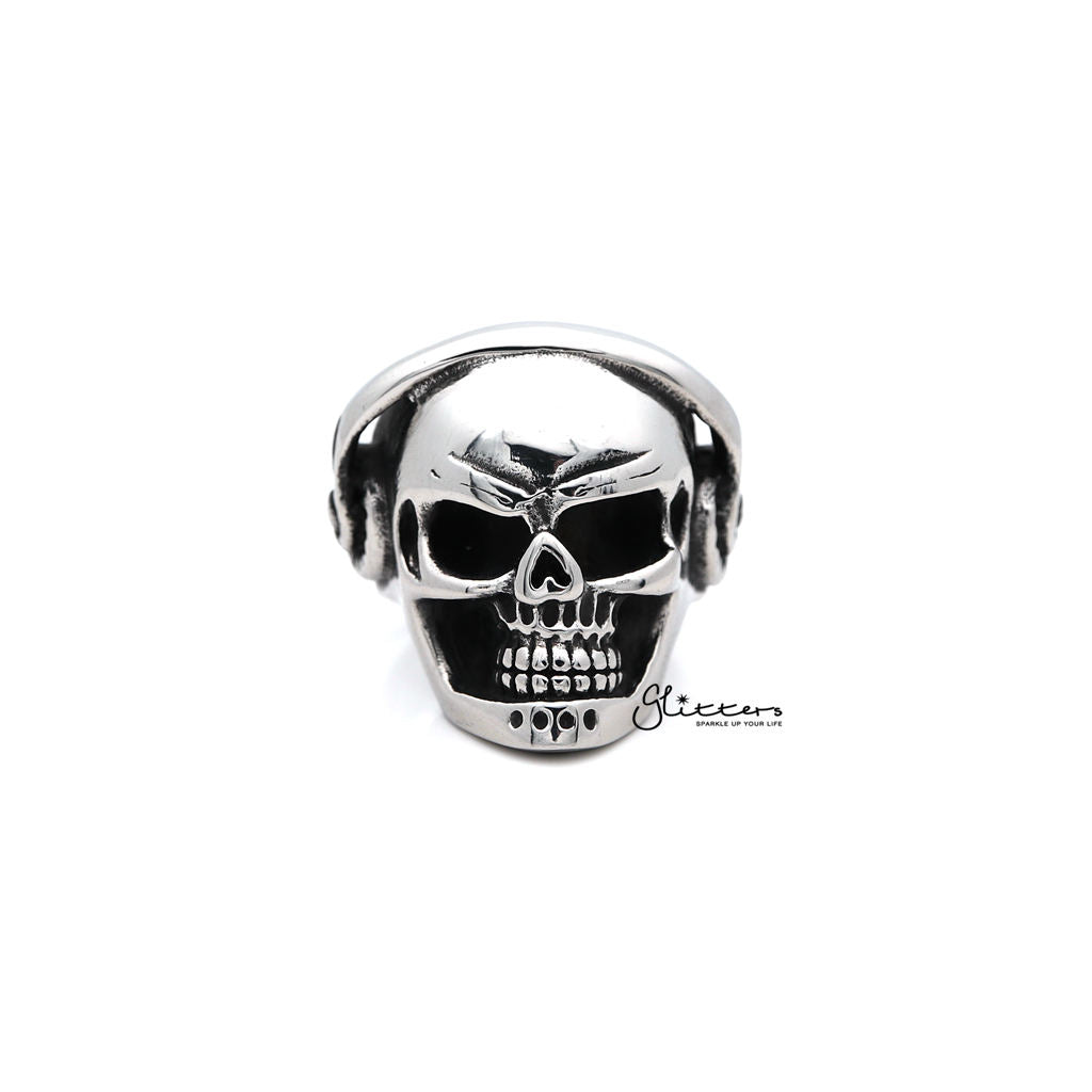 Men's Stainless Steel Skull Head with Headphone Casting Rings-Glitters-New Zealand