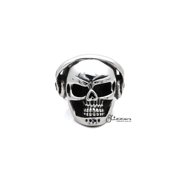 Men's Stainless Steel Skull Head with Headphone Casting Rings