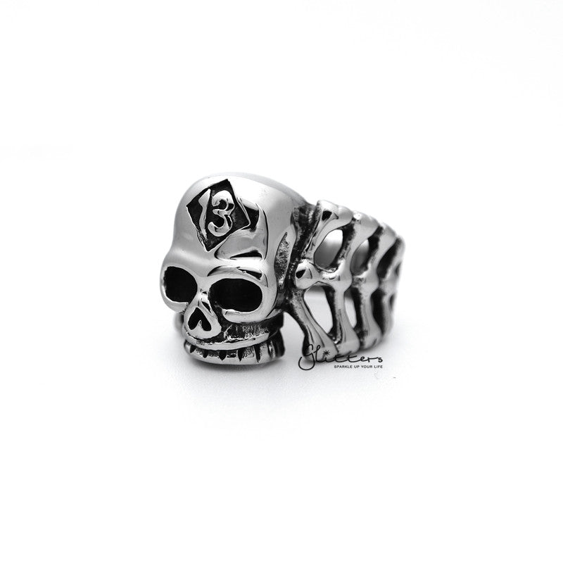 Stainless Steel Skull Head and Bones with #13 Casting Men's Rings-Glitters-New Zealand