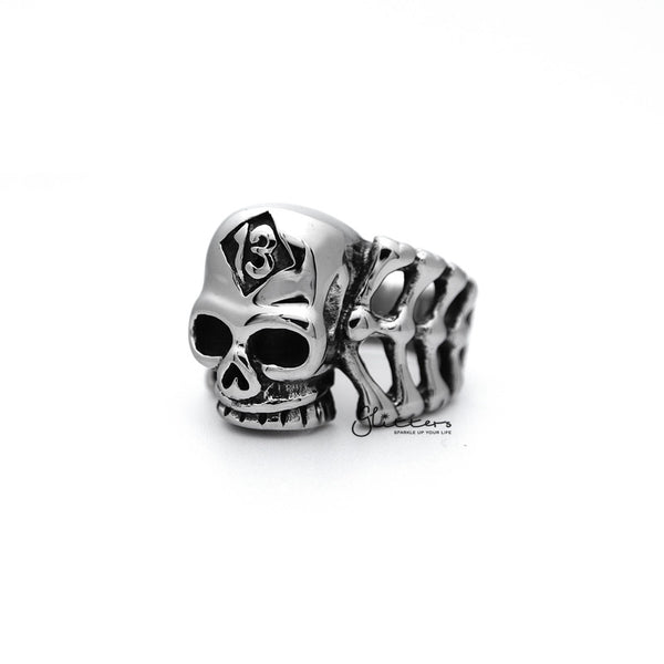 Stainless Steel Skull Head and Bones with #13 Casting Men's Rings