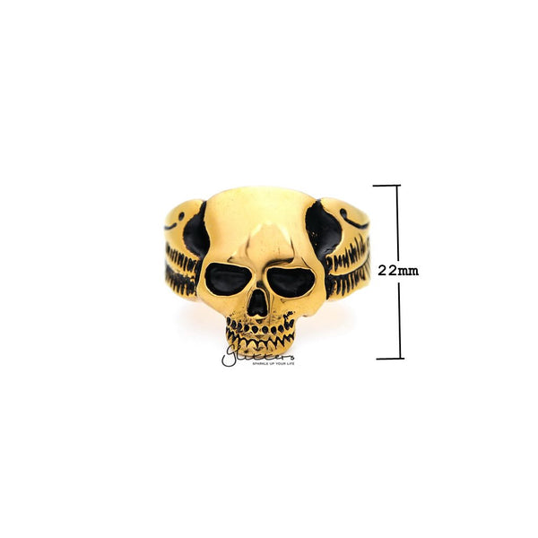 18K Gold I.P Stainless Steel Skull with Wings Casting Men's Ring-Glitters-New Zealand