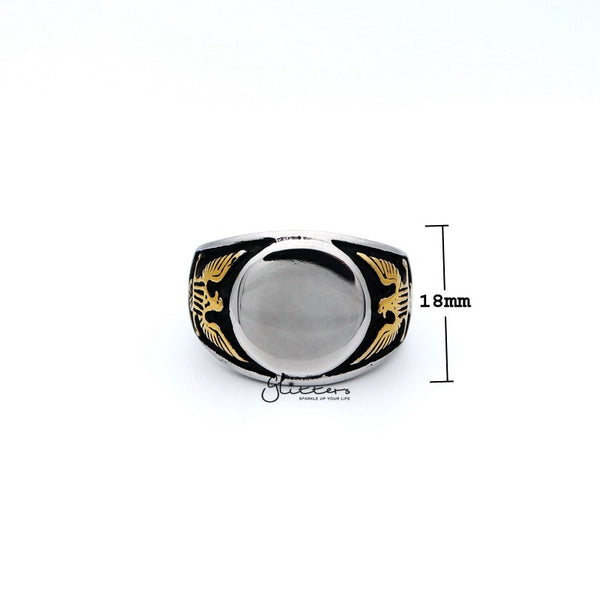 Stainless Steel Mirror Polished Round Centre Casting Men's Rings