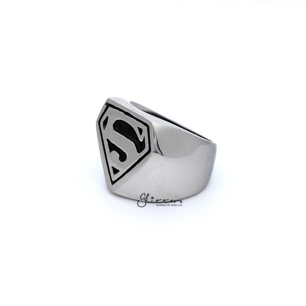 Stainless Steel Glossy Superman Casting Men's Rings