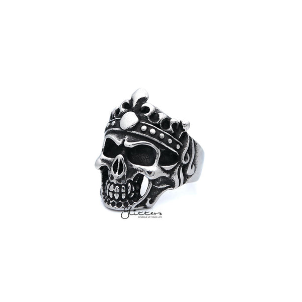 Men's Antiqued Stainless Steel Skull King Casting Rings