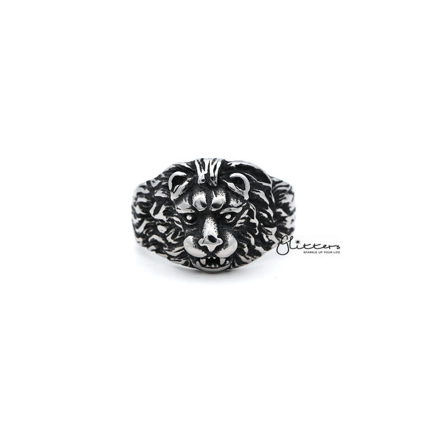 Men's Antiqued Stainless Steel Gothic Lion Heart Casting Rings