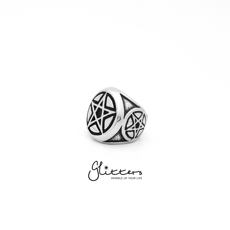 Stainless Steel Star of David Medallion Cast Ring-Glitters