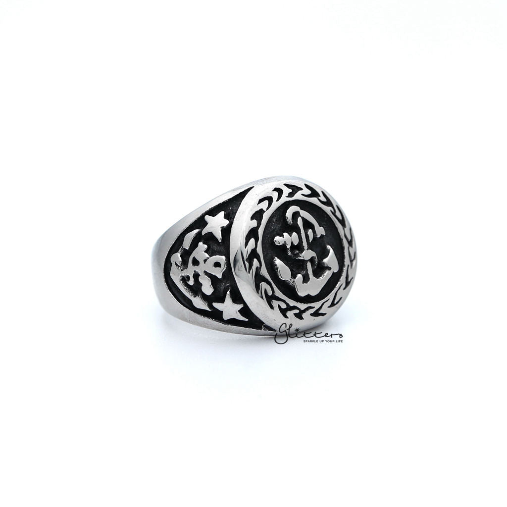 Men's Antiqued Stainless Steel Anchor Casting Rings-Glitters-New Zealand