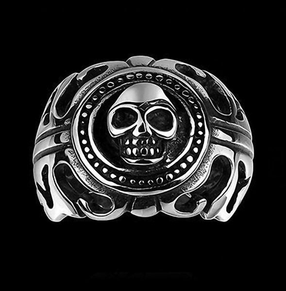 Stainless Steel Skull Cast Ring-Glitters-New Zealand