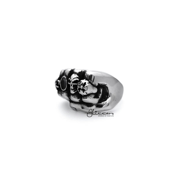Stainless Steel Antiqued Fist Casting Men's Rings