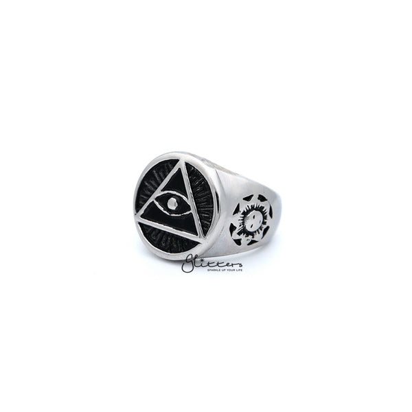 Stainless Steel Circle All Seeing Eye/Eye of Providence Casting Men's Rings