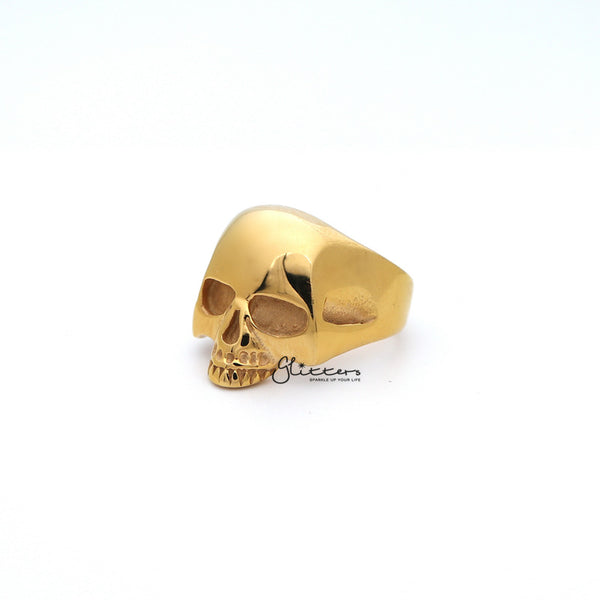 18K Gold I.P Stainless Steel Classic Skull Head Casting Men's Ring-Glitters-New Zealand