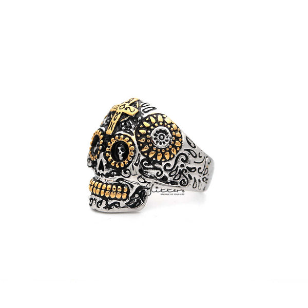 Men's Stainless Steel Two Tone Skull with Cross Casting Rings