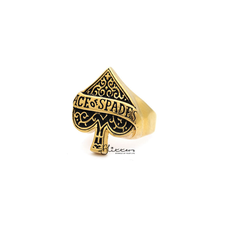 18K Gold I.P Stainless Steel Ace of Spades Casting Men's Rings-Glitters-New Zealand