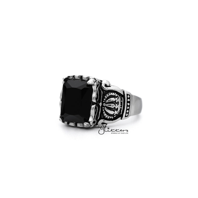 Antiqued Stainless Steel Casting Men's Rings with Black Rectangle C.Z-Glitters-New Zealand