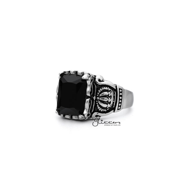Antiqued Stainless Steel Casting Men's Rings with Black Rectangle C.Z