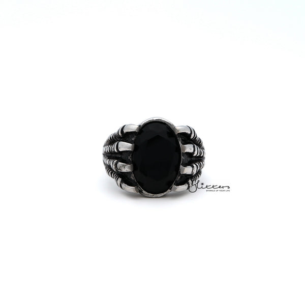 Men's Antiqued Stainless Steel Claw with Black CZ Stone Casting Rings