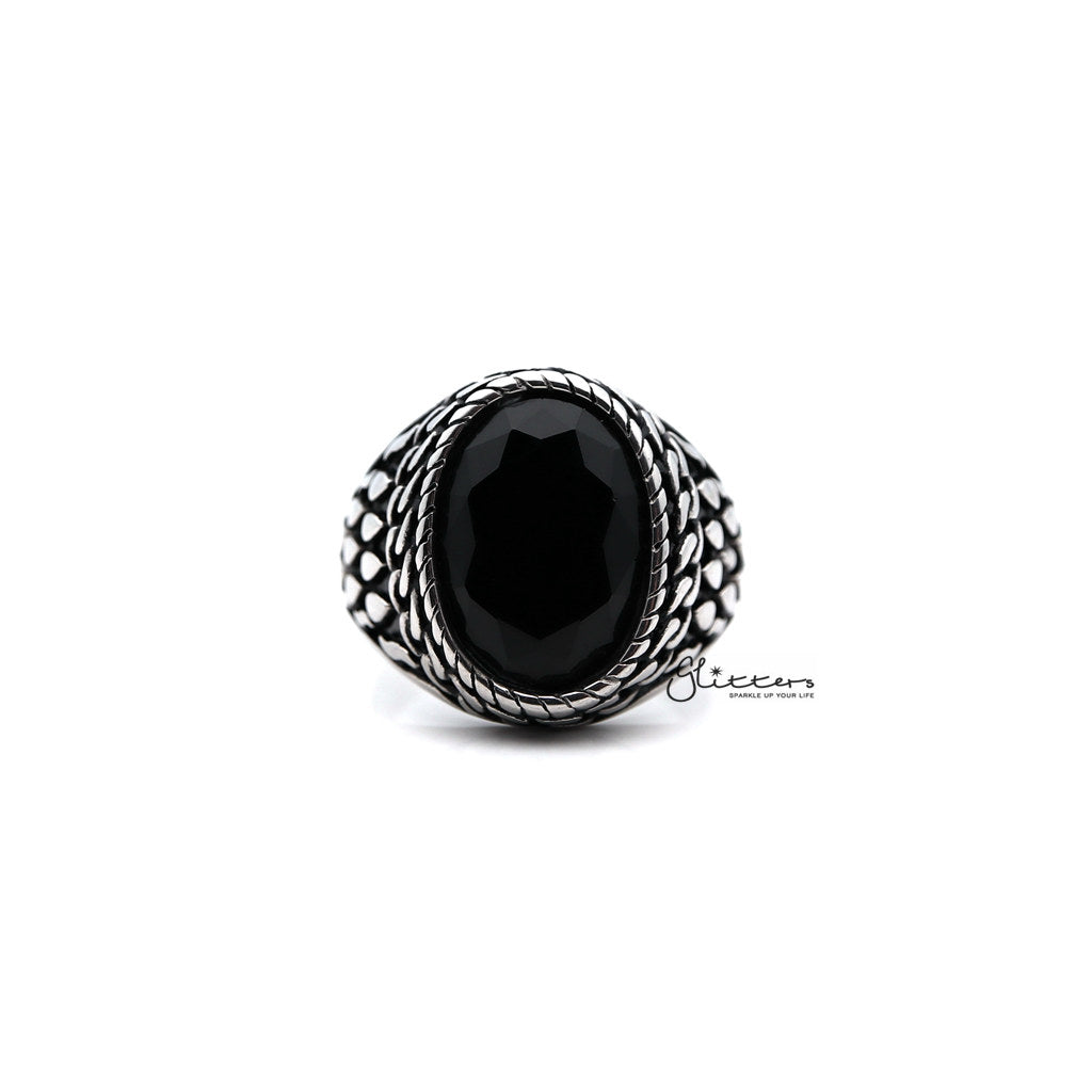 Men's Antiqued Stainless Steel Casting Rings with Black Oval CZ Stone-Glitters-New Zealand