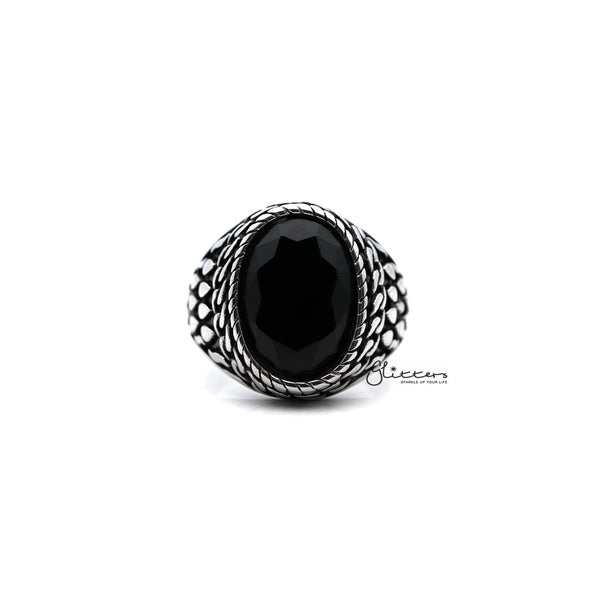 Men's Antiqued Stainless Steel Casting Rings with Black Oval CZ Stone