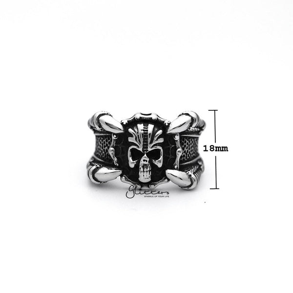 Stainless Steel Antiqued Skull Head with 4 Claws Casting Men's Rings