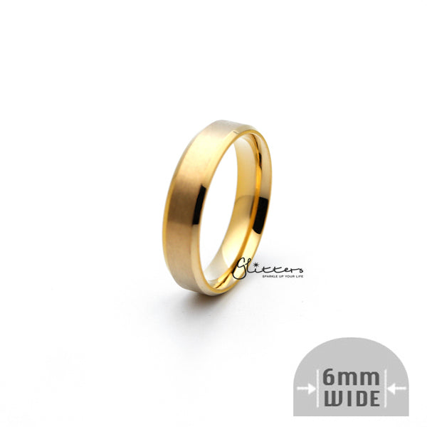 18K Gold Ion-Plated Stainless Steel 6mm Wide Beveled Edge Band Rings-Glitters-New Zealand