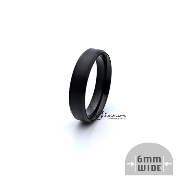 Black Titanium Ion-Plated Stainless Steel 6mm Wide Beveled Edge Band Rings-Glitters-New Zealand
