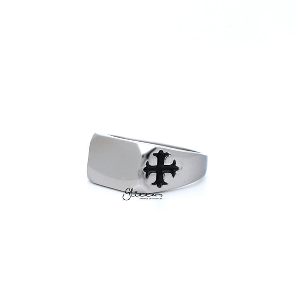 Men's Stainless Steel Glossy Rectangle with Crosses Casting Rings