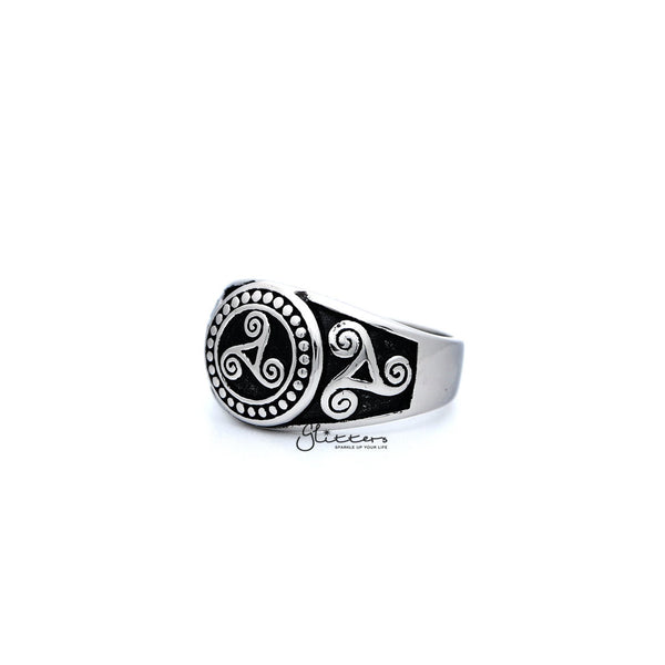 Stainless Steel Antiqued Triskele / Triple Spirals Casting Men's Rings