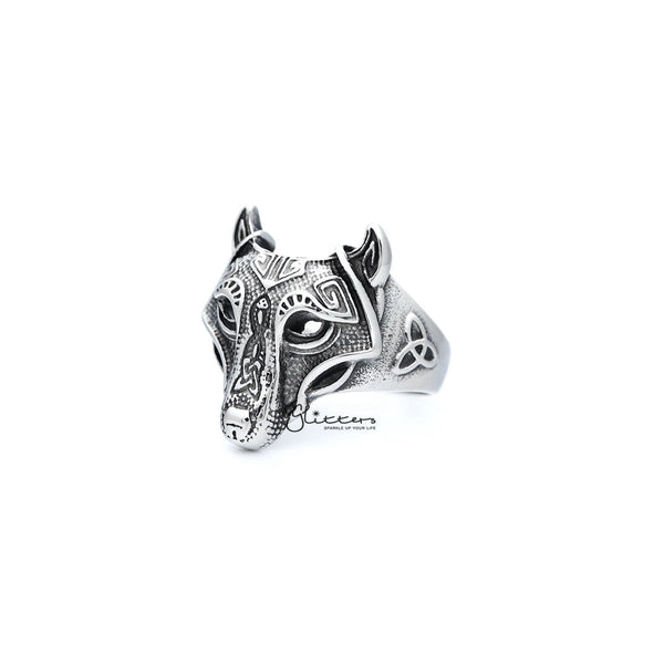 Stainless Steel Antiqued Wolf Head Casting Men's Rings