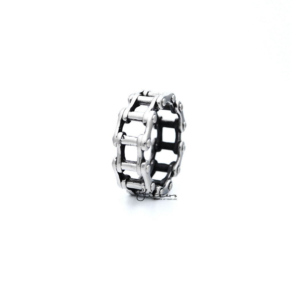 Stainless Steel Antiqued Motorcycle Chain Casting Men's Rings-Glitters-New Zealand