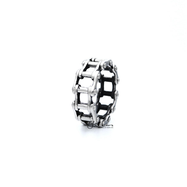Stainless Steel Antiqued Motorcycle Chain Casting Men's Rings