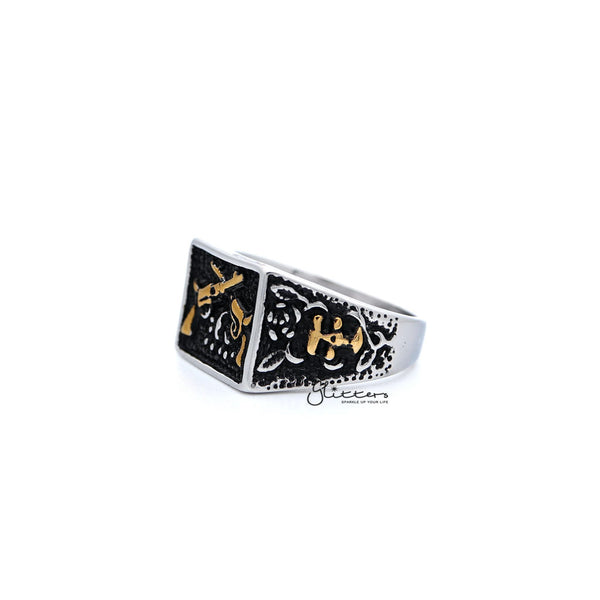 Stainless Steel Antiqued Two Tone Square with Crossed Guns Casting Men's Rings