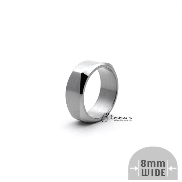Stainless Steel High Polished 8mm Wide Unique Square Shape Band Ring - Silver-Glitters-New Zealand