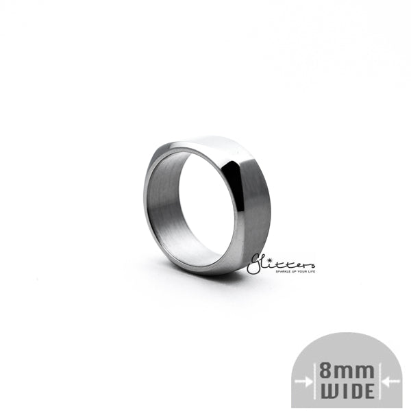 Stainless Steel High Polished 8mm Wide Unique Square Shape Band Ring - Silver