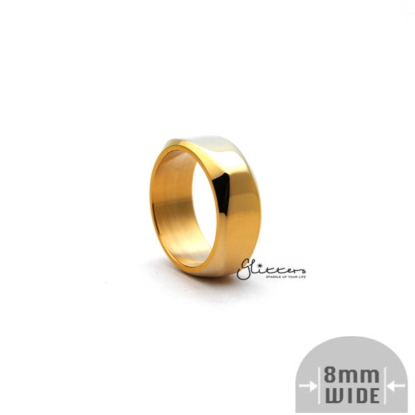 Stainless Steel High Polished 8mm Wide Unique Square Shape Band Rings - Gold