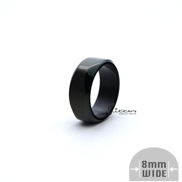 Stainless Steel High Polished 8mm Wide Unique Square Shape Band Rings - Black-Glitters-New Zealand