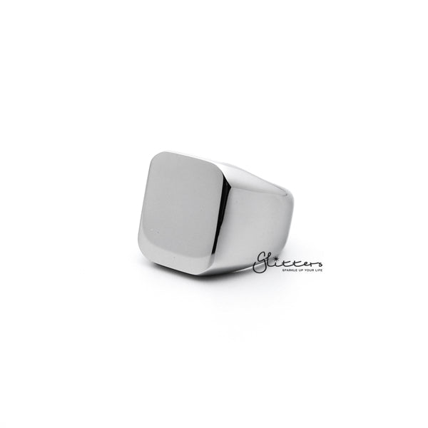 Stainless Steel High Polished Square Shape Men's Rings - Silver