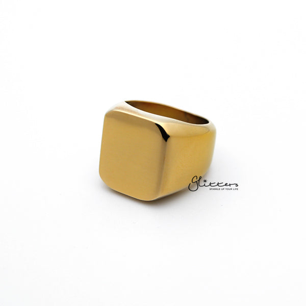 Stainless Steel High Polished Square Shape Men's Rings - Gold