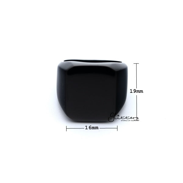 Stainless Steel High Polished Square Shape Men's Rings - Black