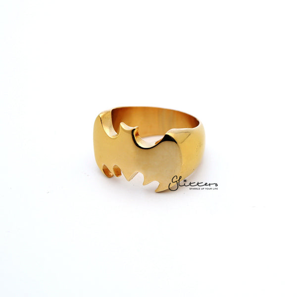 Stainless Steel Glossy Batman Casting Men's Rings - Gold