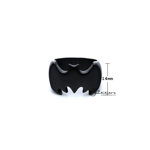 Stainless Steel Glossy Batman Casting Men's Rings - Black-Glitters-New Zealand