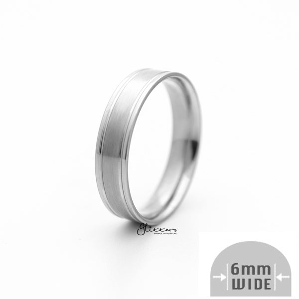 Stainless Steel 6mm Wide Brushed Center Band Ring - Silver-Glitters-New Zealand