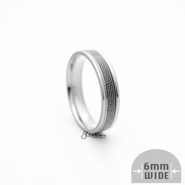 6mm Silver Greek Key on Black Background Stainless Steel Band Rings-Glitters-New Zealand