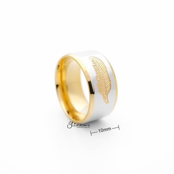 Stainless Steel 10mm Wide 2-Tone Polished with Golden feather Center Band Ring-Glitters-New Zealand