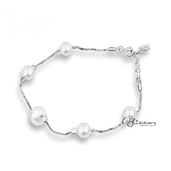Sterling Silver Shell Pearl Women's Bracelet-Glitters-New Zealand