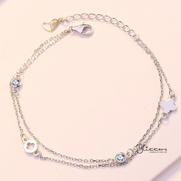 Sterling Silver Flower with C.Z Women's Bracelet-Glitters-New Zealand