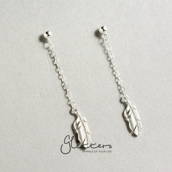 Sterling Silver Feather Earring-Glitters
